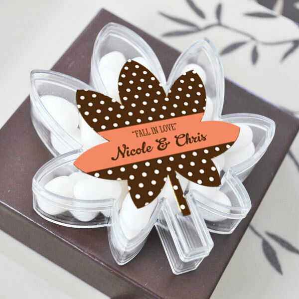 96 Personalized Acrylic Fall Leaf Wedding Favor Boxes