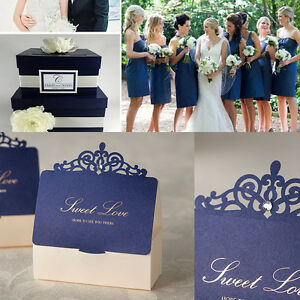 Navy Blue Theme Diamond Crown Wedding Favour Boxes Party Gift Candy