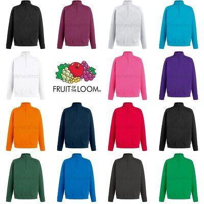 Fruit of The Loom Lightweight Zip Neck Sweatshirt Fleece//Plain casaul top S-2XL