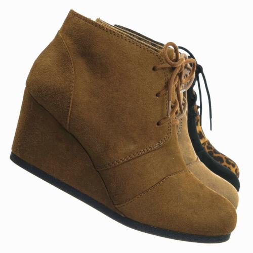 Women Lace Up Oxford Ankle Boots Rex Hidden Wedge Heel Bootie