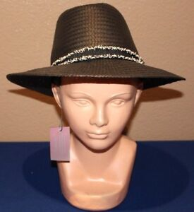 Vince Camuto Women s Frayed Band Panama Hat BLACK NEW WITH TAGS MSRP ... 655b426b7cf6