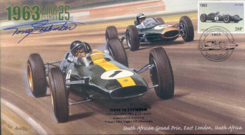 1963a LOTUS-CLIMAX, BRABHAM-CLIMAX, SOUTH AFRICA F1 cover signed TONY SETTEMBER