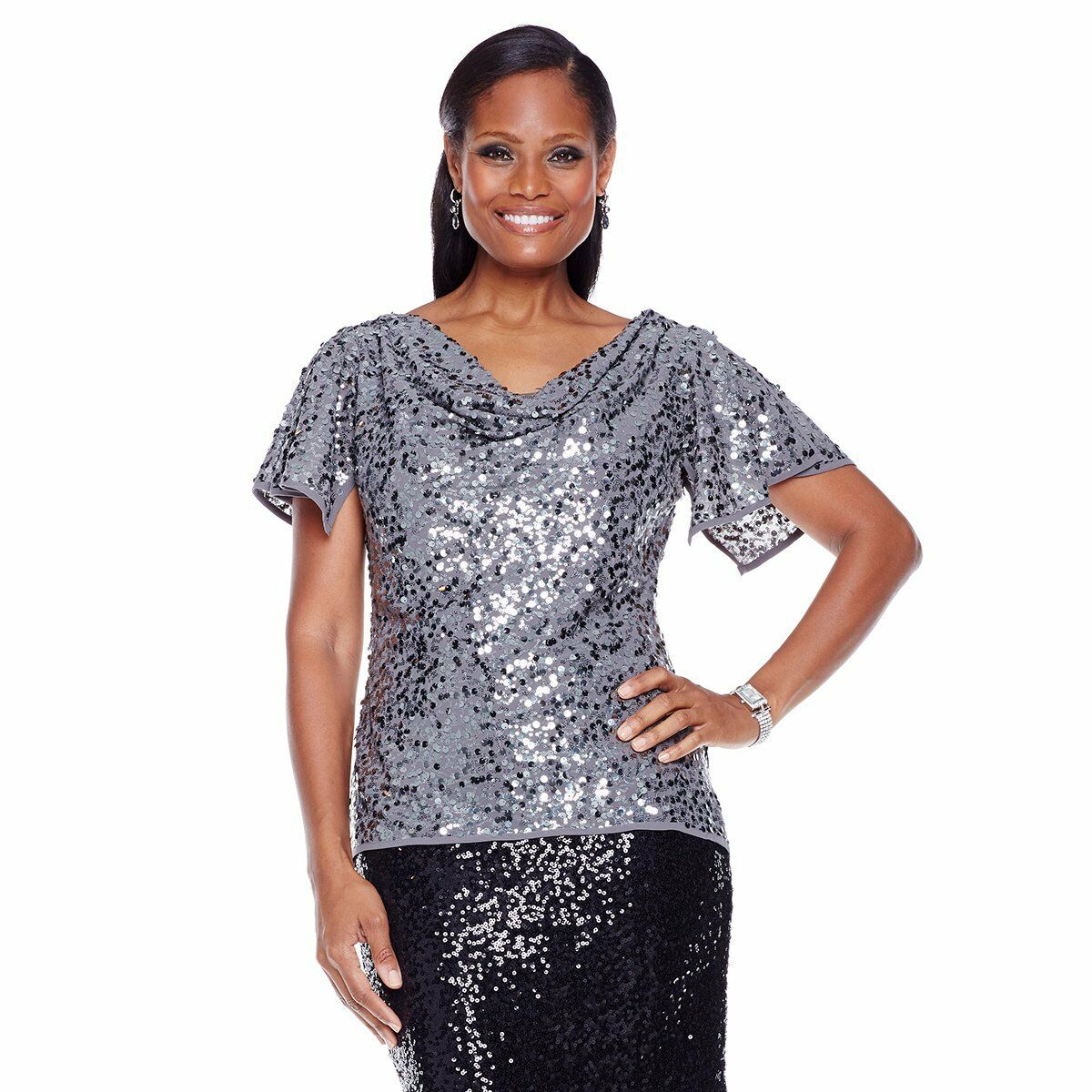 99 Colleen Lopez  Spoonful of Sugar  Sequin Top (Sz10)Gunmetal 271900A SALE  59