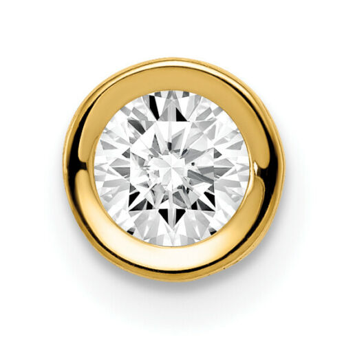 14K Yellow Gold 5mm Cubic Zirconia Bezel Pendant 6x6mm  0.30gr