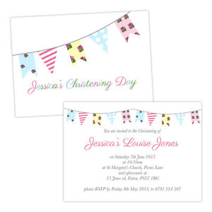 Personalised-Christening-invitations-SHABBY-CHIC-BUNTING-FREE-ENVELOPES-amp-DRAFT