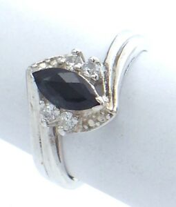Vintage-Women-Size-8-US-Synthetic-Sapphire-Stone-Sterling-Silver-925-Ring-G717