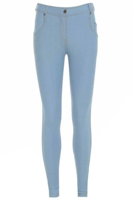New Ladies Womens & Girls Stretch Denim Look Skinny Jeggings Leggings With Zip