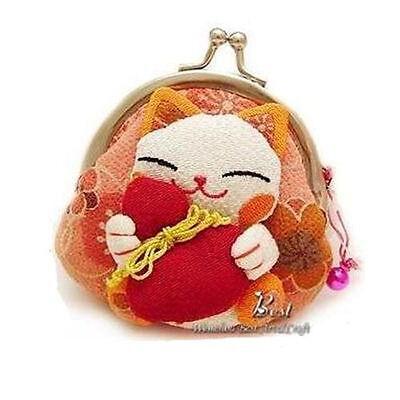 HOT Kawaii Japanese Kimono Lucky Fortune Cat Maneki Neko Clip Coin Purse Wallets