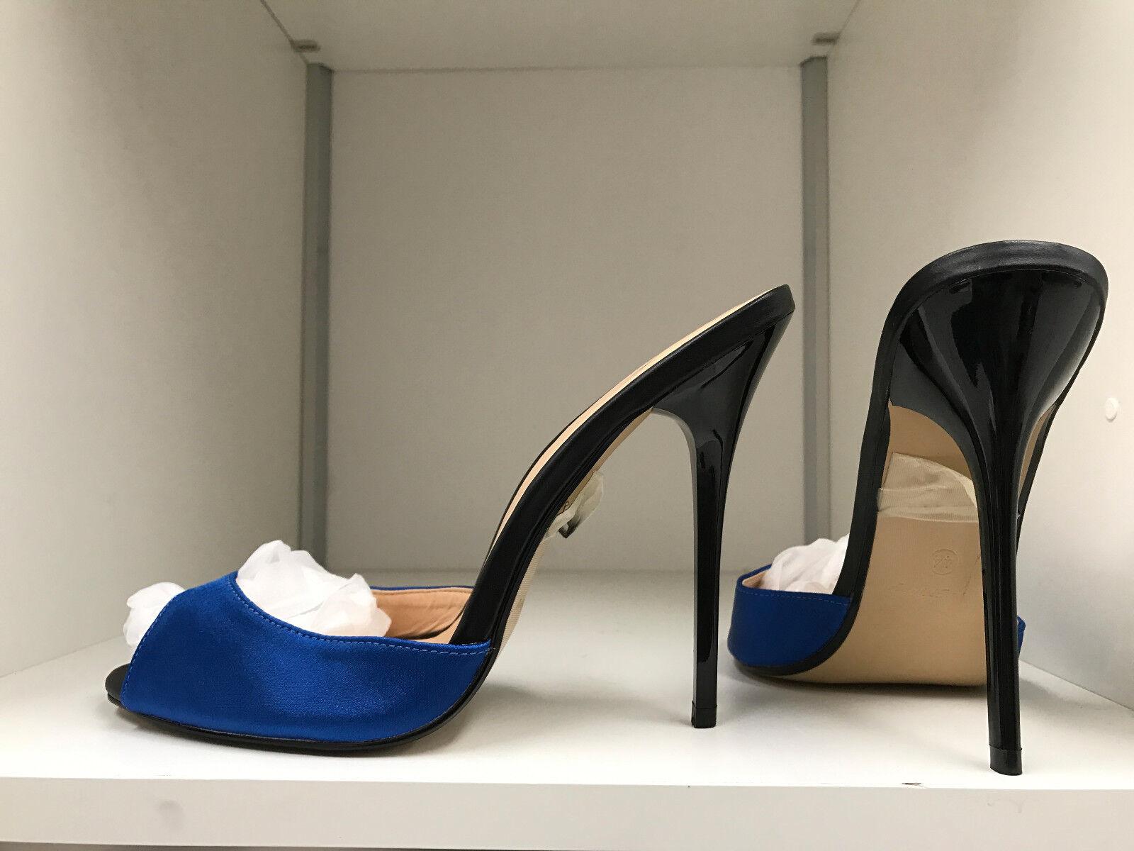 autentico 14 cm Sexy sky high high high heels blu blu blu satin sandals fetish high heels US12 43  costo effettivo