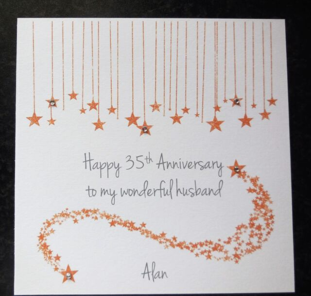 Coral Wedding Anniversary 35th Wedding Anniversary Card: Personalised Handmade On Our 35th Coral Wedding