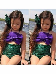 Girls-Little-Mermaid-Bikini-Suit-Swimmable-Swimming-Costume-Swimsuit-Swimwear-UK