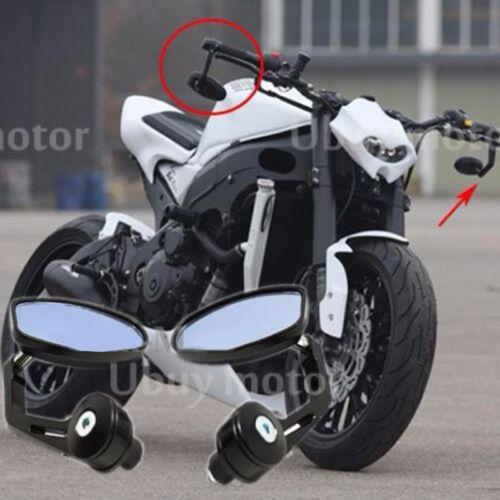 """7//8/"""" Handle Bar End Rearview Side Mirror Yamaha YZF R125 R25 R3 600R 1000R R1 R6"""