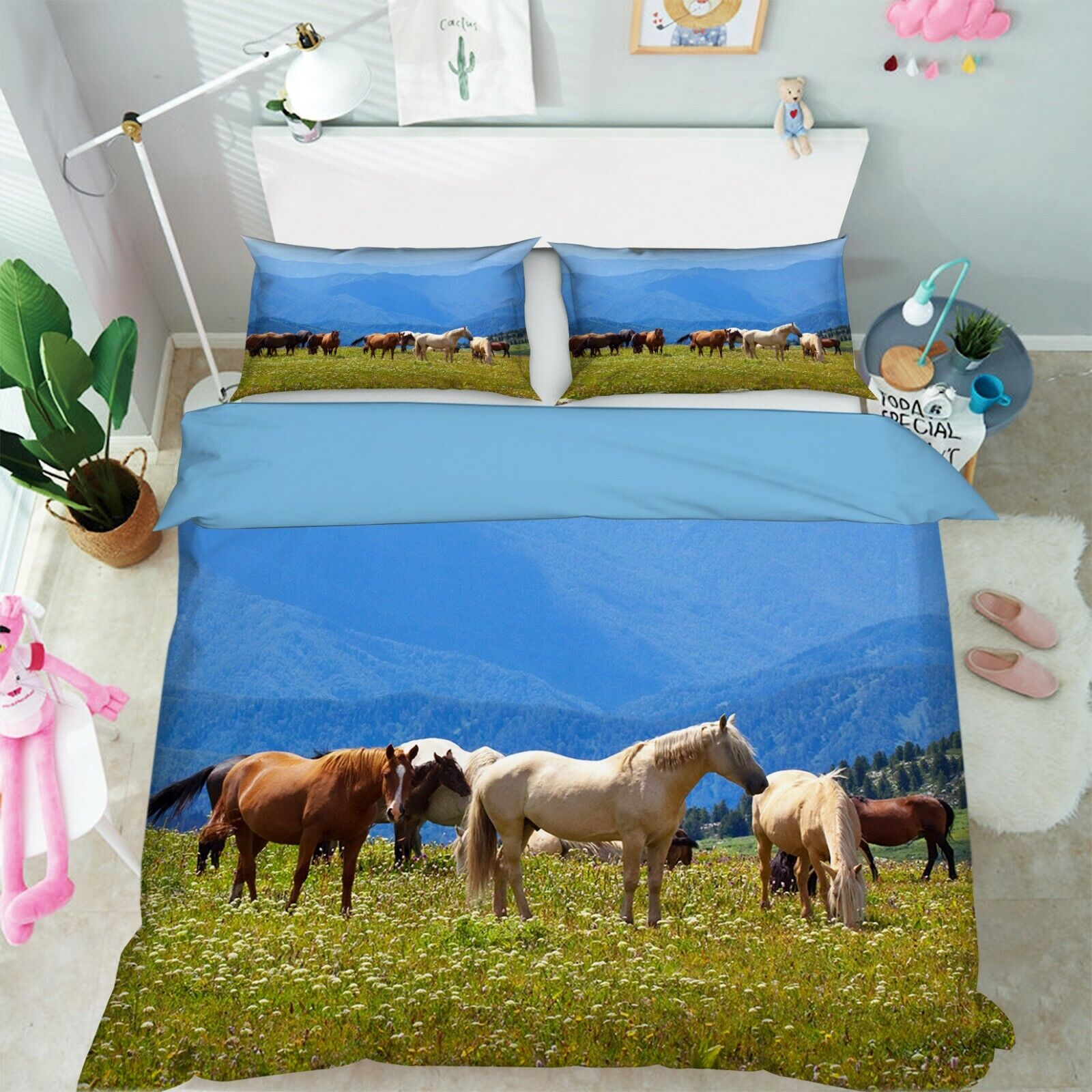 3D Horse Group P03 Animal Bed Pillowcases Quilt Duvet Cover Set Queen King Zoe