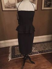 $795 LA PETITE ROBE CHIARA BONI MADISON HALTER PEPLUM DRESS BLACK SZ 50/14 NWT
