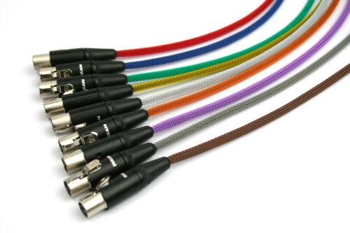 Mini XLR (TA3; TA5) female Kabel mit Geflechtschlauch