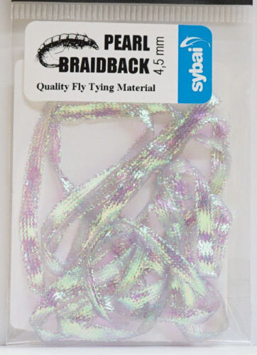 x 4,5mm Shrimps Nymphen Wing Cases ICE PEARL Pearl Braidback SYBAI 1 Mtr