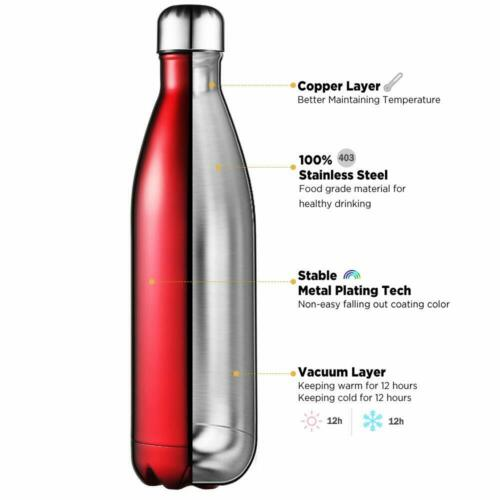 Stainless Steel Water Bottle Vacuum Insulated Metal Sport Gym Drink Hot Flask