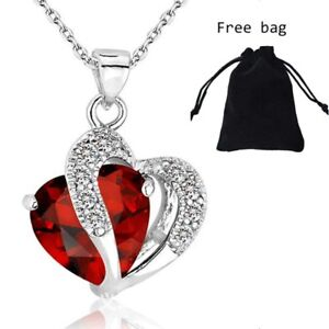 01c422d2c2 Image is loading Valentines-Gift-925-Silver-Crystal-Zircon-Heart-Pendant-