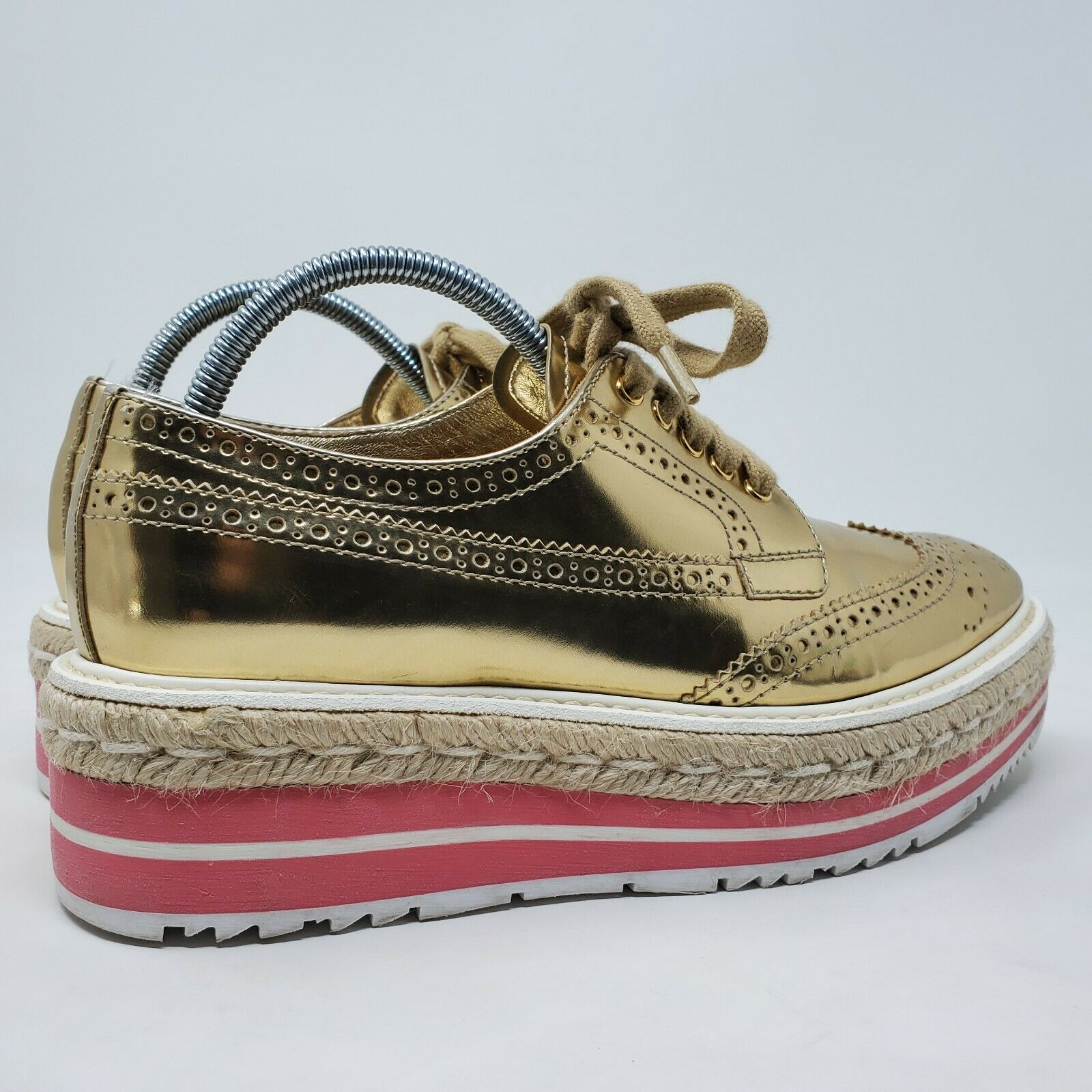 PRADA espadrille oxford shoes gold brogue pink pl… - image 4