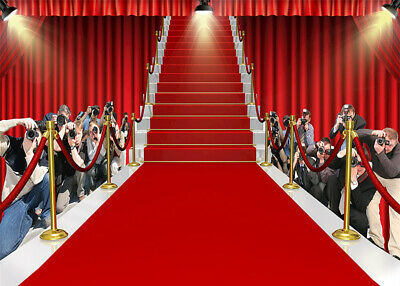 10x8ft Hollywood Red Carpet And Stage Curtains Photo Background Vinyl Backdrop Ebay