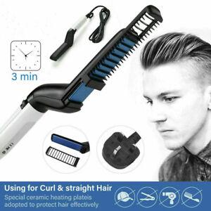 Details about Quick Beard Straightener Men Multifunctional Hair Comb Curling Curler Show Caps