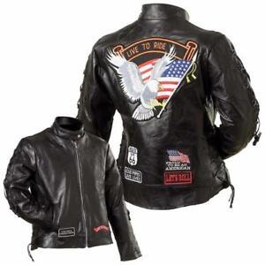 Blouson-en-cuir-femme-Live-To-Ride-S-M-L-XL-2XL-3XL-biker-harley-custom