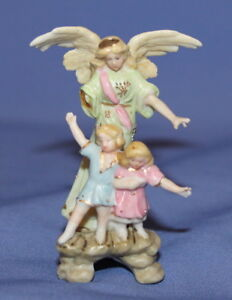 Vintage Small Bisque Porcelain Angel And Childs Figurine
