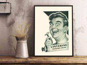 Vintage pubblicità listerine schiuma da barba bagno casa a poster
