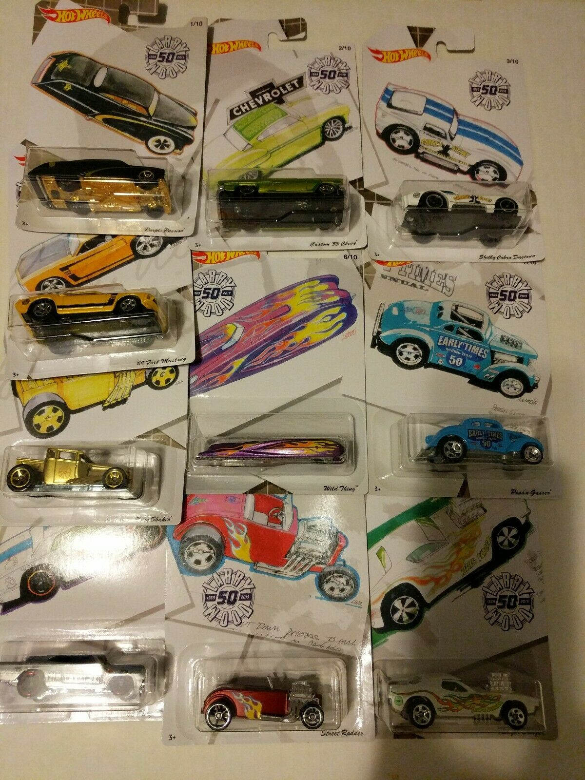 HOT WHEELS LARRY WOOD 50TH ANNIVERSARY COMPLETE SET brand new amazing condition