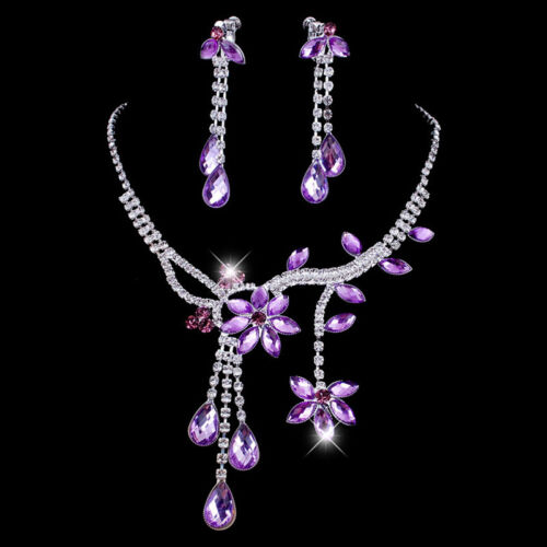 Fashion Wedding Bridal Flower Leaf Crystal Necklace Drop Earrings Jewelry Set DS