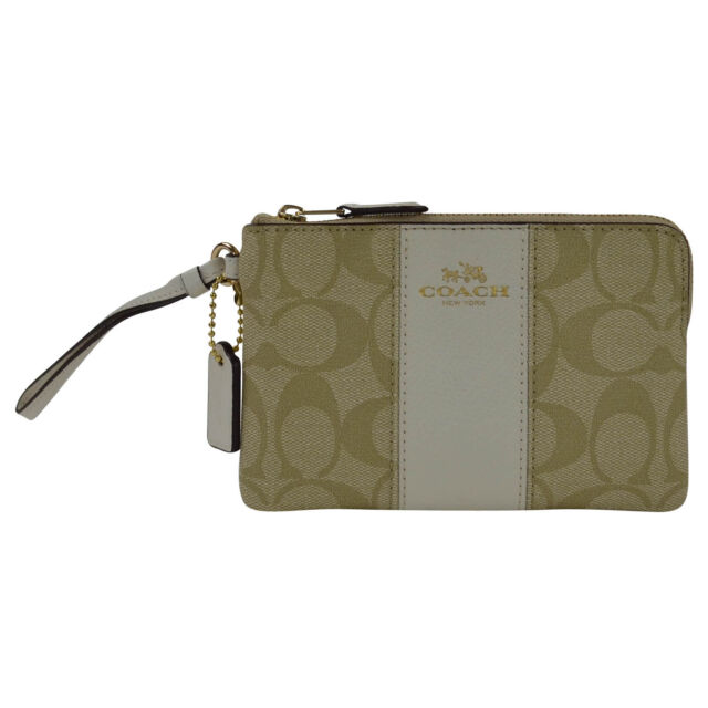 2109330ab02b Coach Signature C LIGHTBEIGE PVC Leather Corner Zip Wristlet F54629 Dust Bag