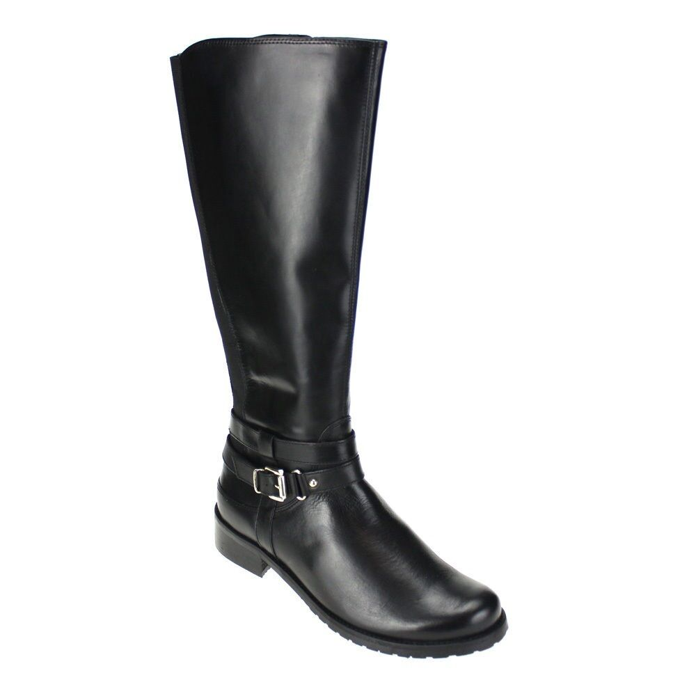 LADIES CLARKS ZIP UP BLACK LEATHER BUCKLE SLIP ON RIDING LONG BOOTS NESSA ABBEY