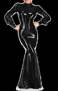 latex evening dress waist corset mermaid long sleeves
