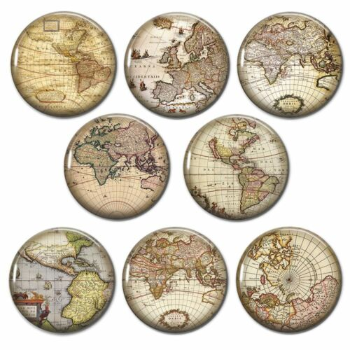 Antique Maps Design Set of 8 25mm Button Pin Badges