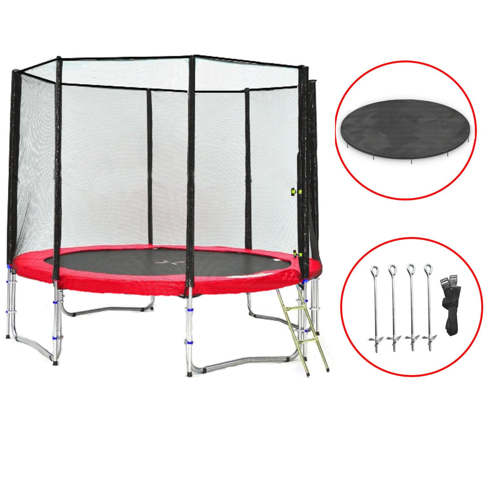 SB-305-R Simple Jump Garten-Trampolin Netz,Leiter,Anker und Wetterplane, 180kg