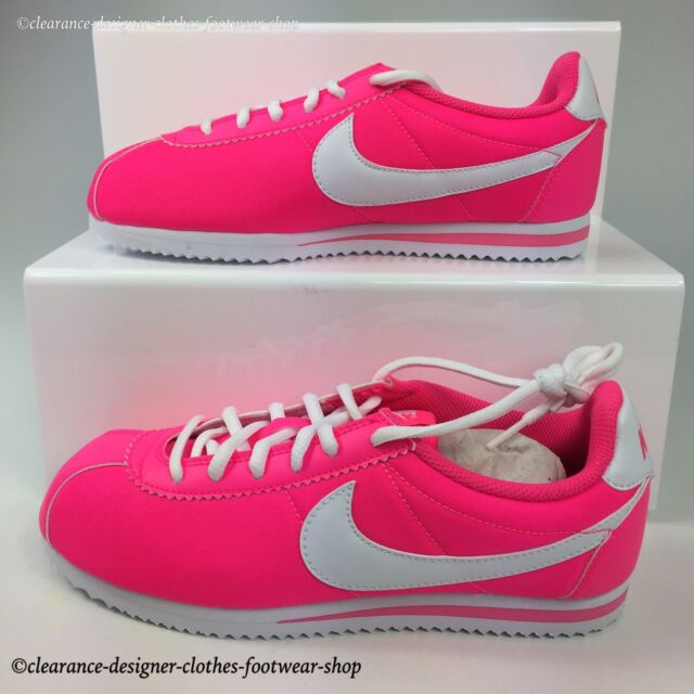 NIKE CORTEZ NYLON GS TRAINERS WOMENS PINK CLASSIC RETRO CASUAL SHOE RRP £60 93b116562