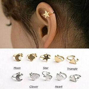 Image Is Loading Fashion Gold Star Clip Stud Ear Cuff Earrings