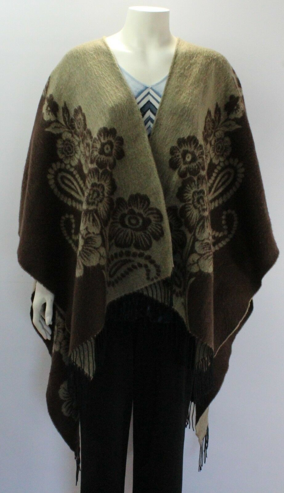 OS Women's Brown Floral Fringe Open Front Poncho Wearover