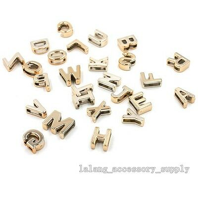 50x Good Items Plated Gold UV Letter Plastic Charms Accessories Fit DIY L