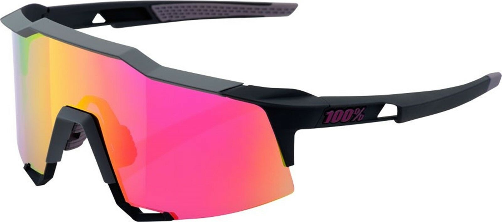 100% Speedcraft Sunglasses  Soft Tact Graphite Frame with Purple Multilayer