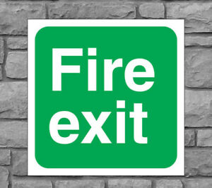 """UP/"""" Directional Health and Safety Sticker Sign 300mm x 100mm /""""FIRE EXIT"""