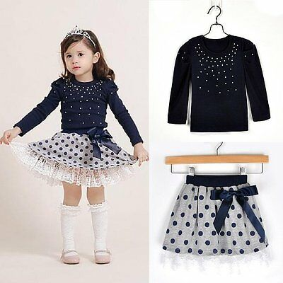 Dot Bubble Skirt Clothes Outfit 2Pcs Baby Girls Birthday Tutu Dress Sleeveless Letter Vest Top