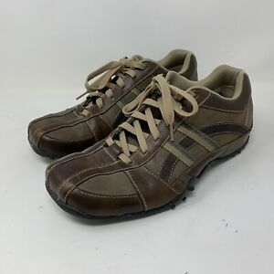 sketchers 61751 urban track browser brown leather lace up