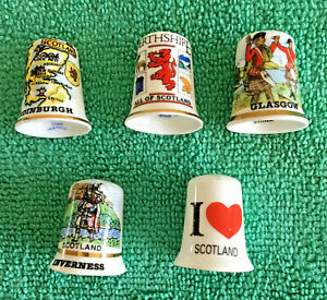 Set-Of-5-Scottish-Cities-Bone-China-Thimbles-Collectable-Scotland-Places