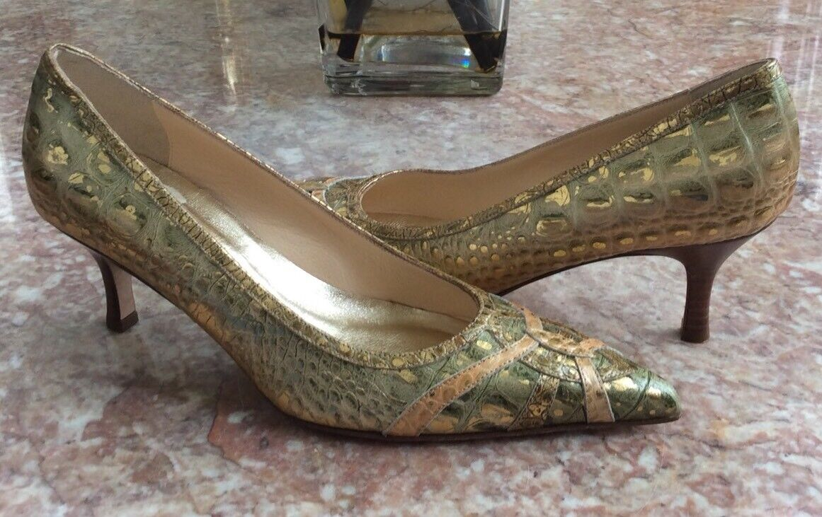 New ISABELLA FIORE Reptile Leather Print Heel Pump shoes Size 6.5M Made in