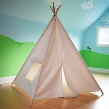 HAN-MM Kids Foldable Teepee Tipi Play Tent White One Four Ploes Style