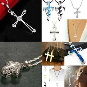 Fashion-Unisex-925-Silver-Stainless-Steel-Cross-Pendant-Chain-Necklace-Jewelry