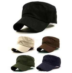 78a028763e1 Unisex Women Men Outdoor Army Vintage Cadet Military Plain Caps Hats ...