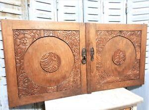 Pair-art-deco-flower-architectural-door-Antique-french-wooden-salvaged-panel