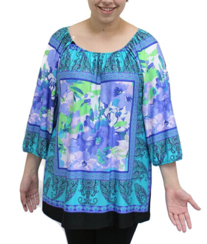 4834 Purple Size N Top floreale Large Jade contadina Touch Tunica W1PzSqWZ